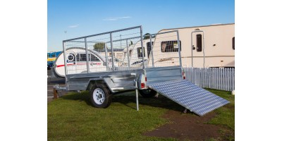 Trailer 8x5 Caged Single Axle Rear Loading Ramp with 900mmH Cage
