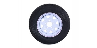 "13"" Trailer Wheel Tubeless Radial Tyre 165R13LT  - White Painted Rim"